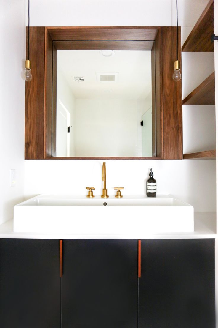Modern cottage bathroom - Small Modern Cottage Bathroom Black Vanity With Polished Brass Fixtures