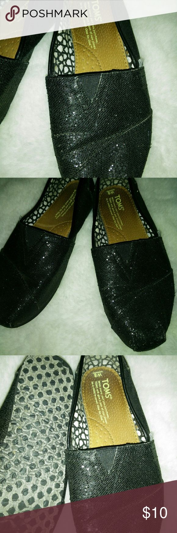 TOMS Ladies shoes Black sparkle TOMS slip on shoes  Not worn much  Size 8 Toms Shoes Flats & Loafers