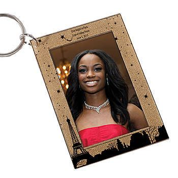 Parisian Skyline Gold Glitter Key Tag
