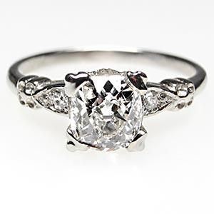ANTIQUE ENGAGEMENT RING OLD MINE CUT DIAMOND W/ACCENTS SOLID 18K WHITE GOLD