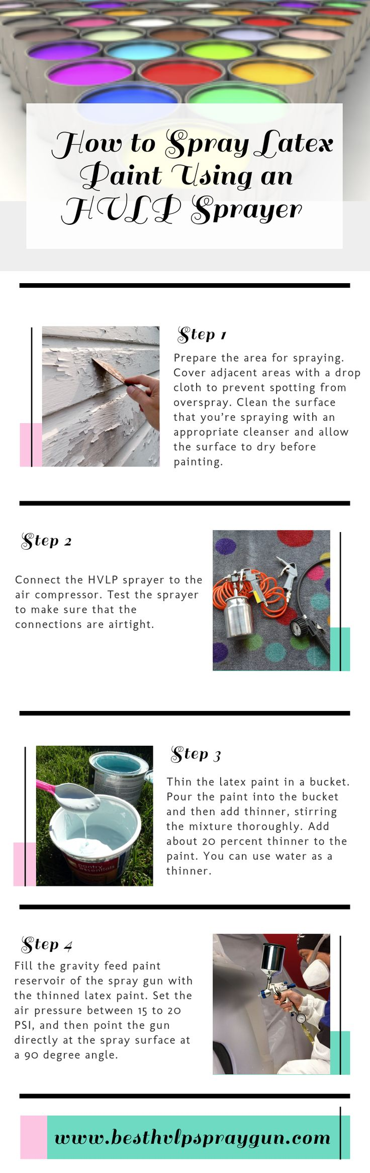 Guidelines to spray latex paint Using an #HVLP Sprayer If you are the first time user to spray #latex paint with the help of HVLP #sprayer, then you must check this infographic. Because here I've given some guidelines for how to do this task easily.