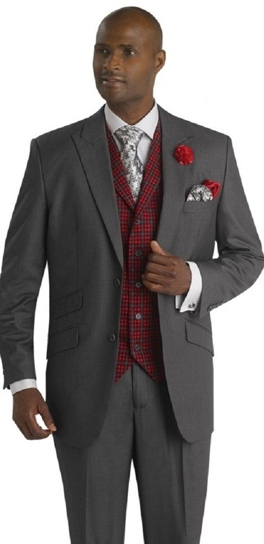 Charcoal Dark Grey 3 Piece Mens Suit Classic Fit R) Red Checked Vest  stunnnt Christmas suits Blazer vest and pants suit for men