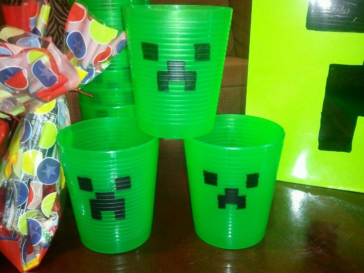 Mindcraft Cups Made From Green Cups From Target And A