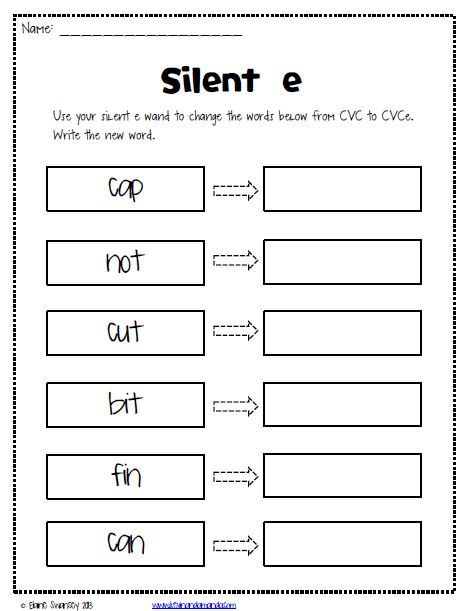 Silent e worksheets {FREE}