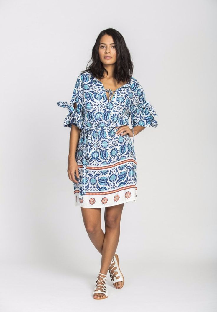 Solito - Laylah Bow Dress In Marrakech With Waist Tie