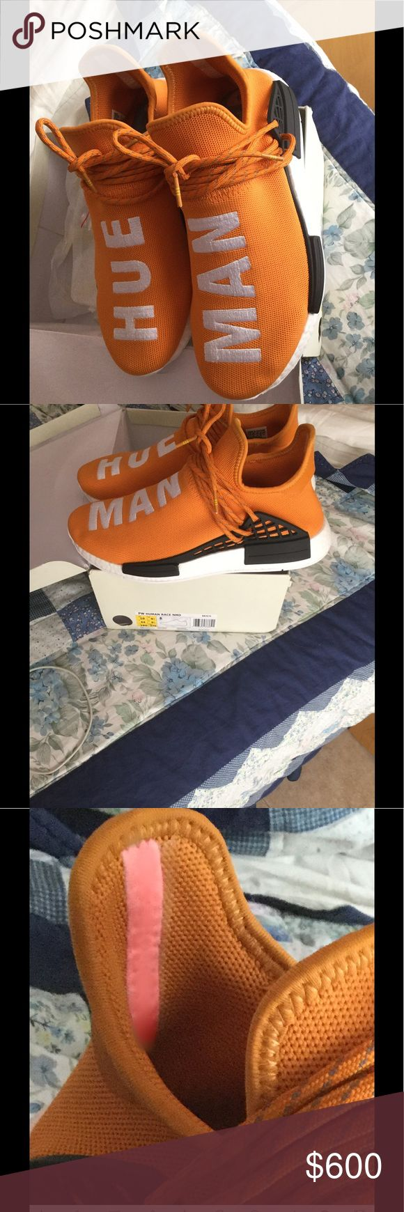 NMD Adidas x PW Human Race Tangerine The adidas HU NMD x Pharrell Williams debuted in 2016 at part of the Pharrel Williams = adidas Originals line. Inspired by unity and the human race, the sneaker was based on the original NMD and featured a Primeknit up