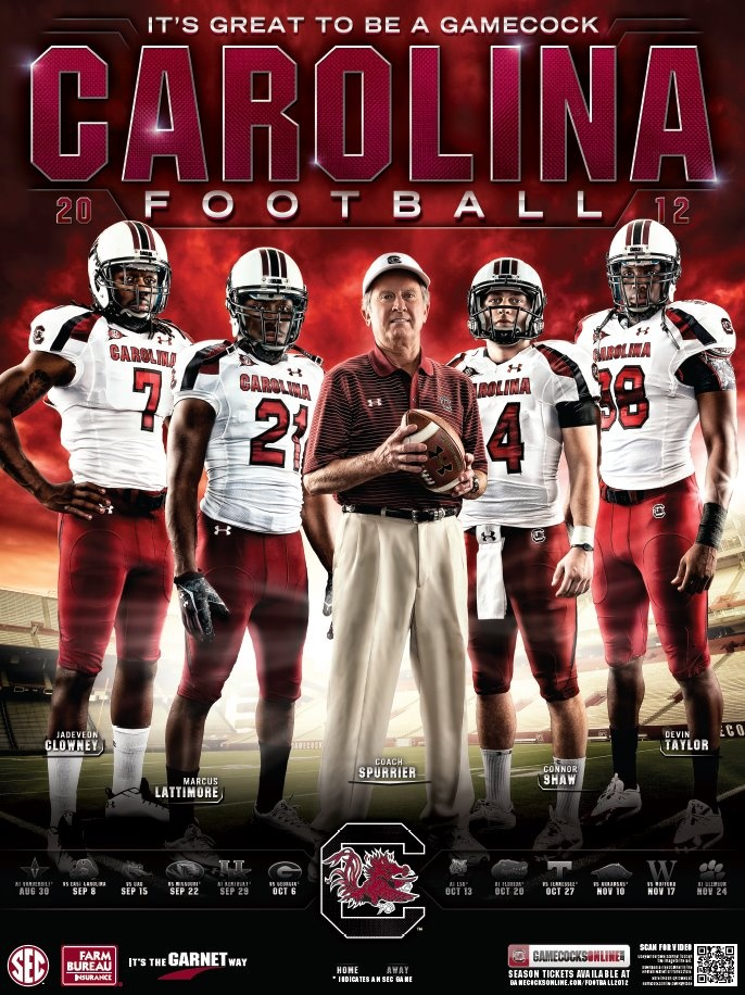 University of South Carolina - 2012 Football Schedule Poster Designed by Aaron Villalobos I Old Hat Creative