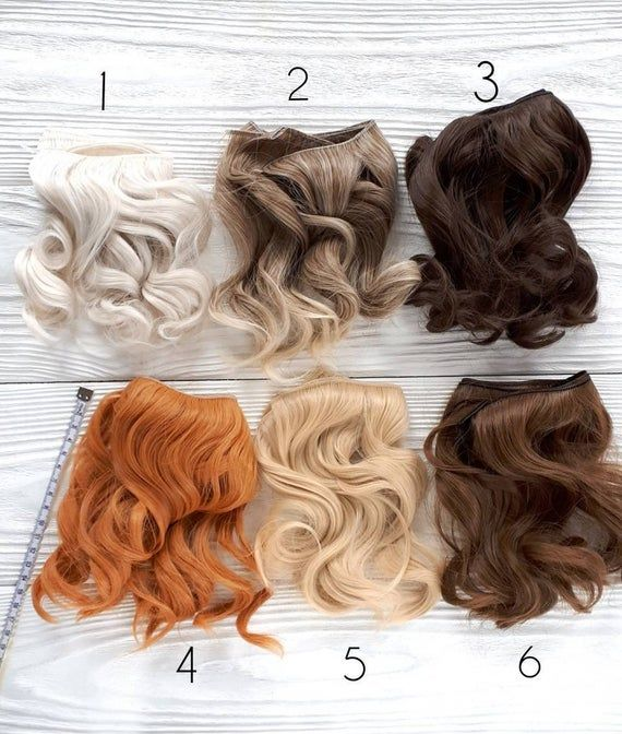 15 cm( 6 inches). Wavy hair for dolls. Tress, synthetical weft for dolls wigs. Art dolls. Synthetic