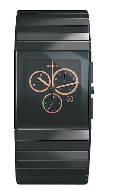 Catálogo de relojes Rado de cerámica: Reloj Rado en líneas rectas con esferas chapadas en oro rosa (538 0714 3 017)