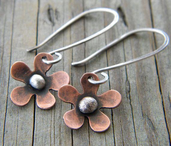Copper Flower Sterling Silver Earrings Artisan by dreambelledesign, $32.00
