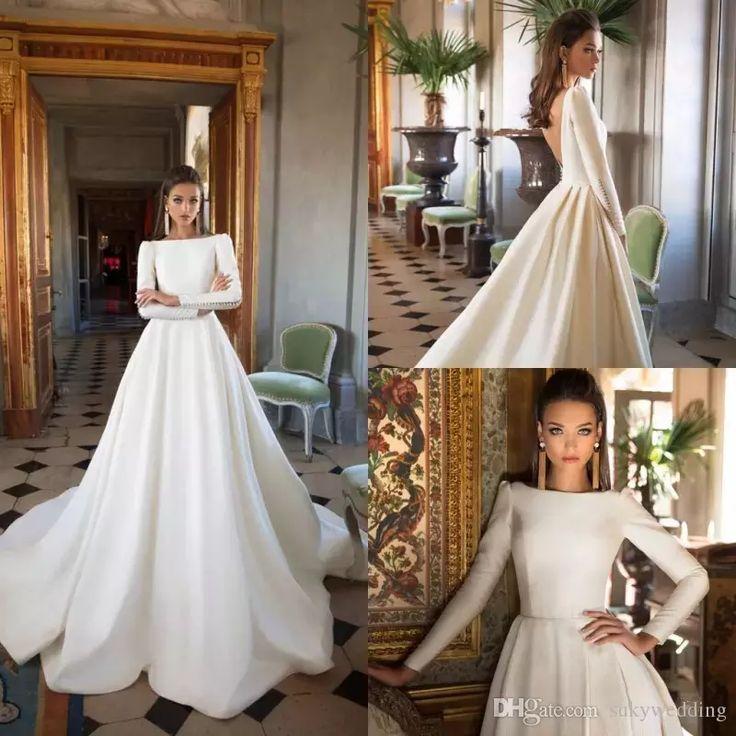 A Line Satin Wedding Dresses Milla Nova Backless Long Sleeves Wedding Gowns Bate…