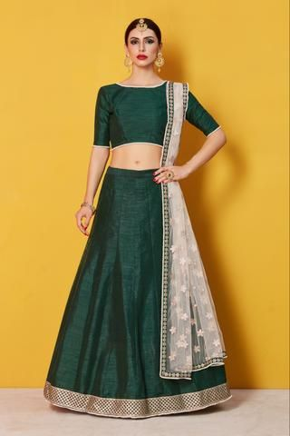448fc47264 Dark Green Art Silk Latest Style Of Lehenga Online Shop | lehenga ...