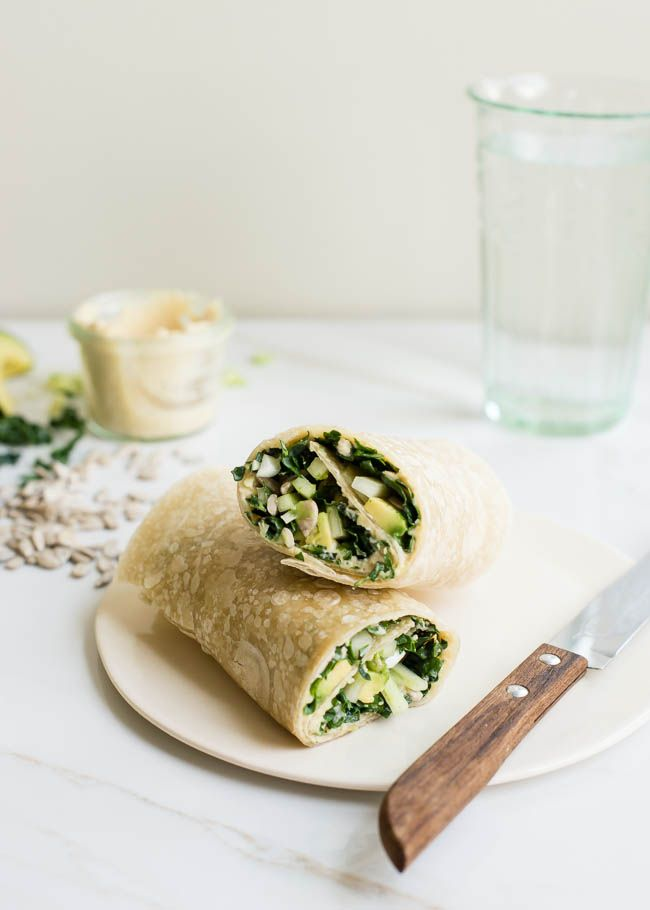 POWER LUNCH: Protein-Packed Kale, Avocado Hummus Wrap | http://hellonatural.co/power-lunch-protein-packed-kale-hummus-wrap/