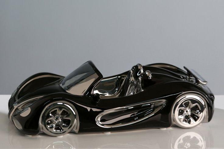 Porcelánové auto Cabrio  čiernostrieborné