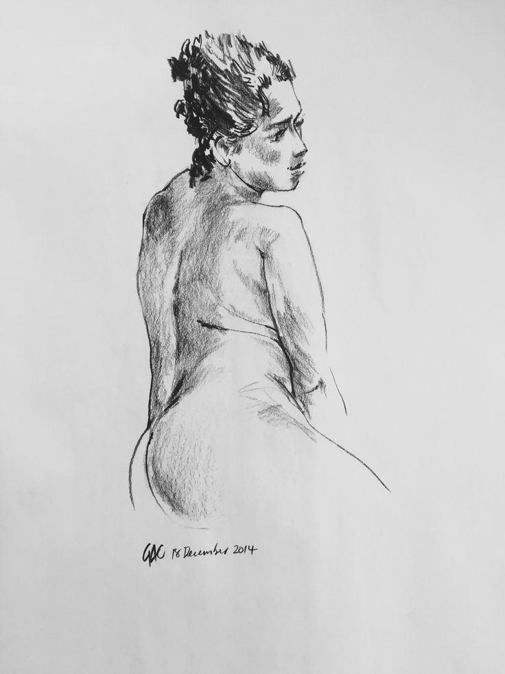 Female Nude Looking Over Shoulder, by Geoff Coleman (2014). 51cm x 80cm, charcoal on paper.  #charcoal #drawing #lifedrawing #study #female #nude #geoffcoleman #linework #contemporaryart #worksonpaper #melbourne #atelier451 #ormond