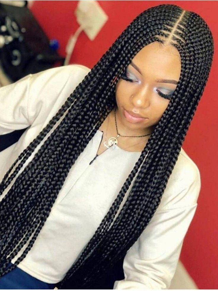 Box Braids with Middle Part #MiddlePart #BoxBraids #ProtectiveStyles #BraidedHai…