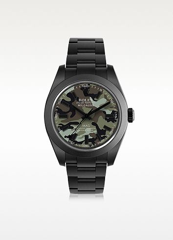 Customized Rolex Milgauss Green Camo Dial Men's Watch - MAD Customized Watches