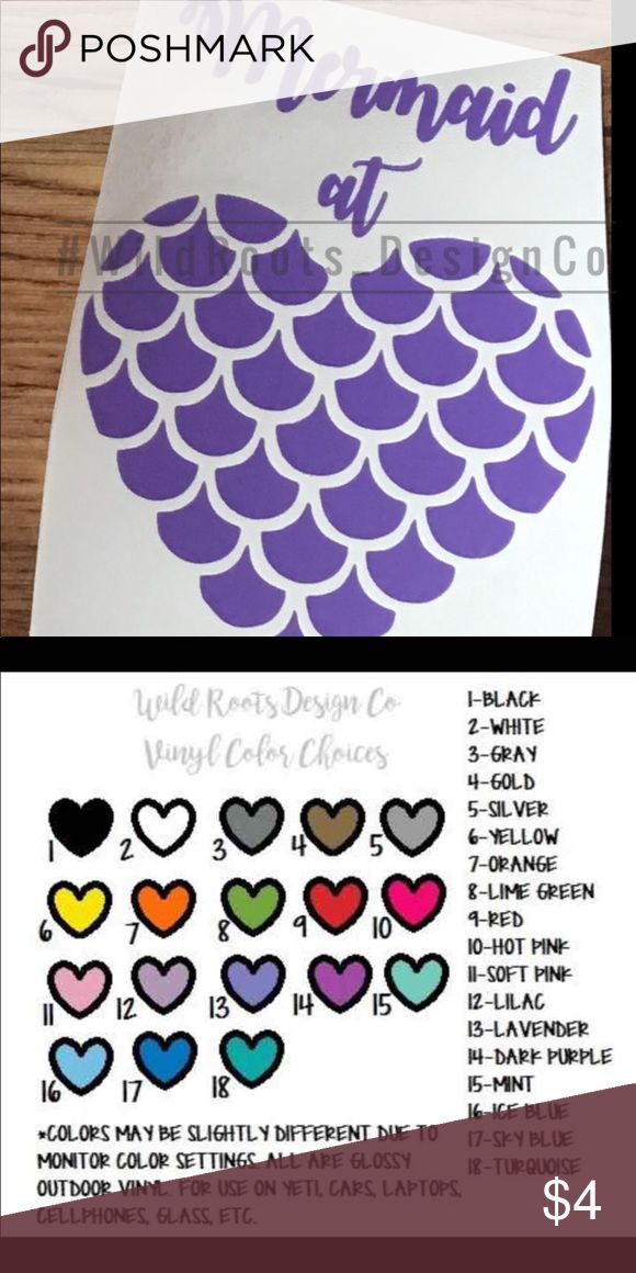 """Mermaid at heart decal 4"""".                                                                                                                              Colors may be slightly different due to phone contrast.   These decals can go on anything, yeti, car, computer, cellphone, you name it!  Bundle to save on shipping! Please message with the color you would like!  If you do not, I will ship a random color! Accessories"""