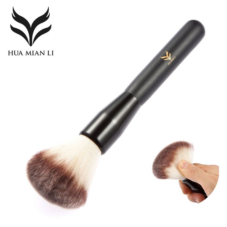 HUAMIANLI Professionelle Naked Synthetische Stiftung Make-Up Pinsel Set Schwarz Holzgriff Bilden Gesicht Puderpinsel Kosmetik