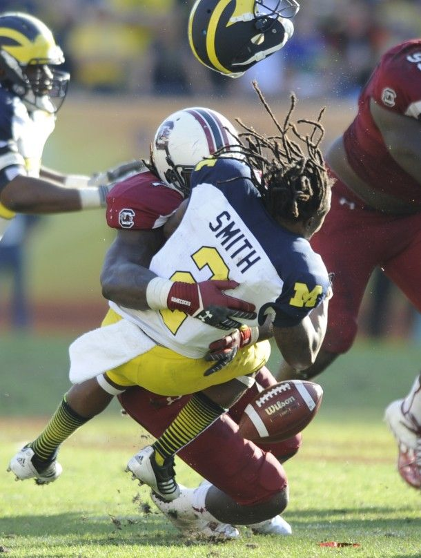 My favorite Clowney pin! Jadeveon Clowney Hit Michigan Outback Bowl This man is a Beast! Will actually watch college football this year!