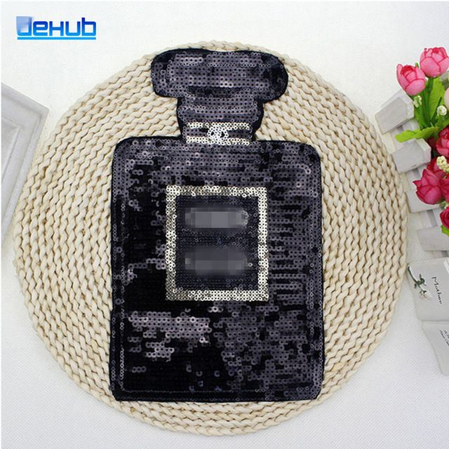 Preto Frascos de Perfume Lantejoulas Patch Personalizado Decoração DIY Roupas e Acessórios Adequados Para A Camisa Roupas Camisolas
