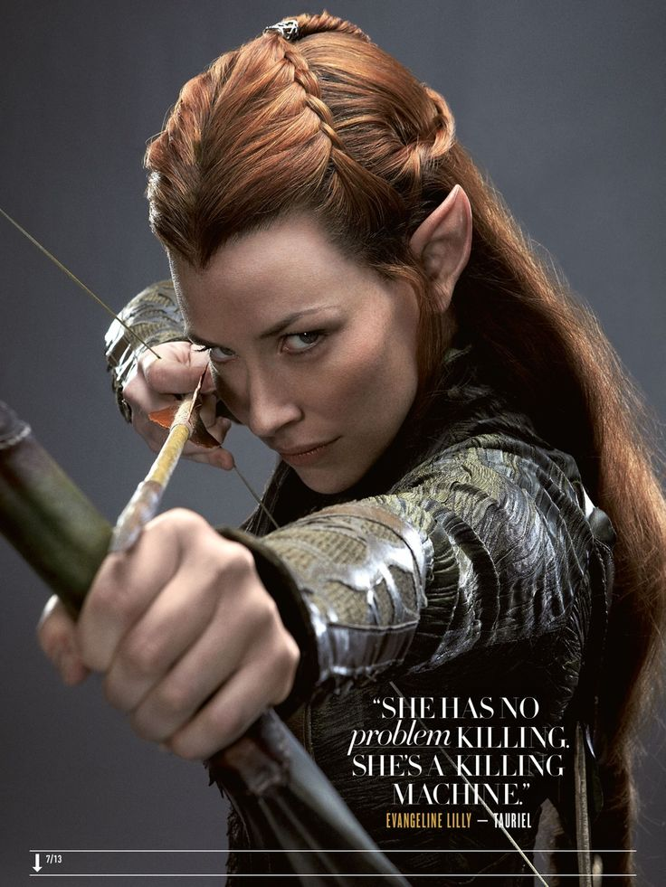 """""""She has no problem killing.  She's a killing machine.""""  Evangeline Lilly as Tauriel"""