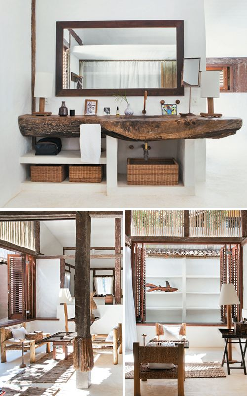 Wooden bathroom countertop with wicker baskets in Bahia, Brazil by the style files