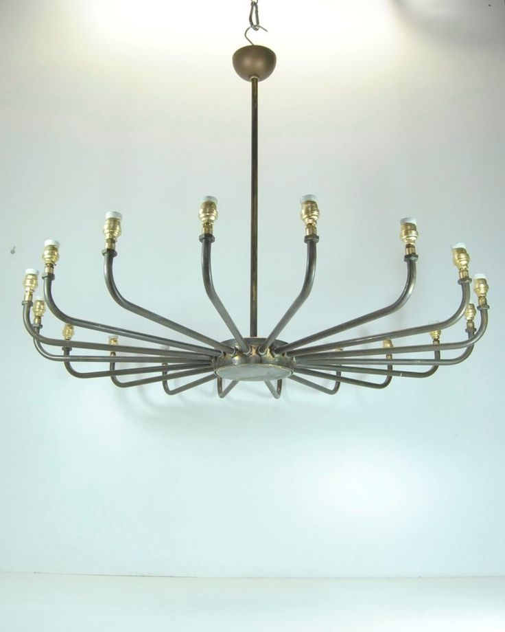 Lampadario LARGE INDUSTRIAL CHIC Brass Chandelier Edison Interior Bar ...