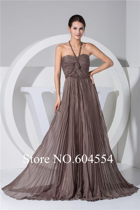 Halter neck pleated chiffon flowy a-line floor-length evening dress would  like it in a Champaign or light pink color ff0a6434b