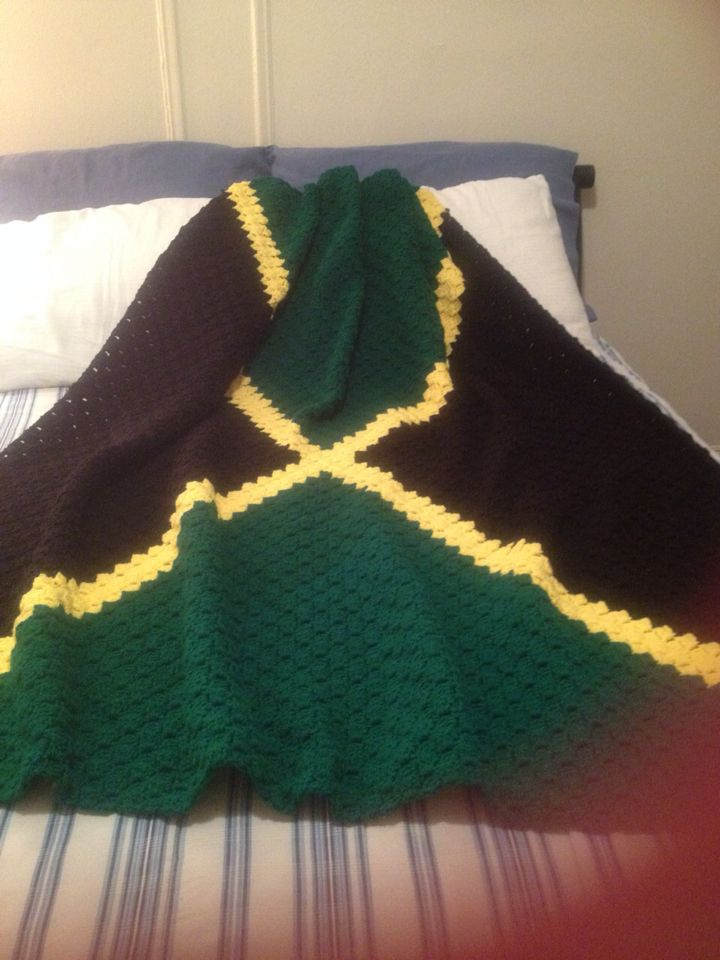 Crocheted Jamaican Flag Blanket Made By My Coworker Friend