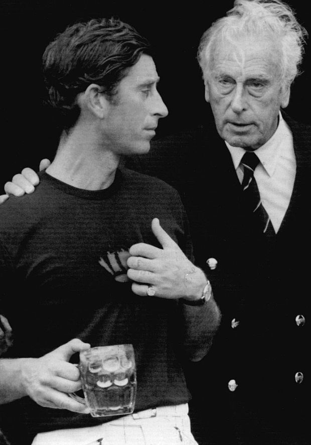 Prince Charles with Lord Mountbatten at a polo match in 1977 (Rex)