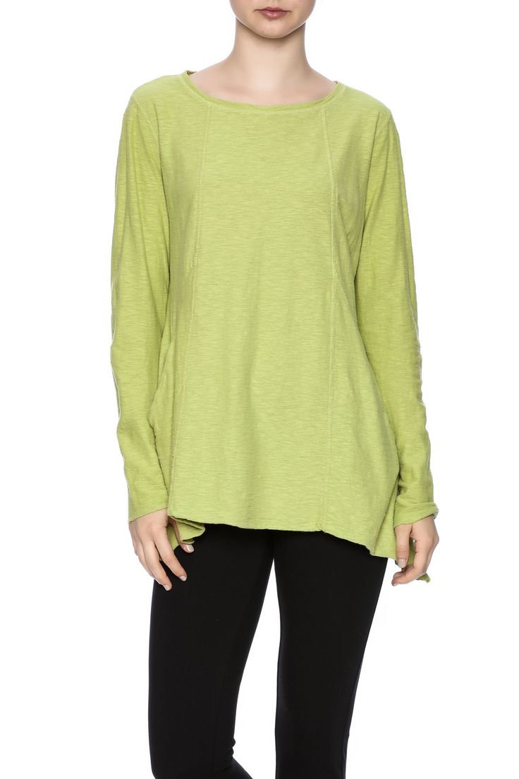 A cottonlinen blend top with long sleeve,2 front pockets and a crew neck. Washer and dryer safe.   Angled Pocket Top by Cut Loose. Clothing - Tops - Long Sleeve North Carolina