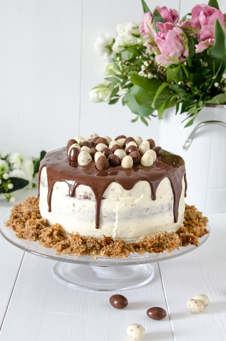 Easter cake: carrot cake with cream cheese frosting and chocolate drip