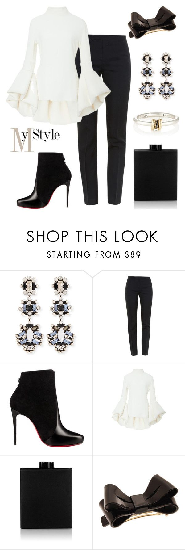 """Bow."" by gatocat ❤ liked on Polyvore featuring DANNIJO, Yves Saint Laurent, Christian Louboutin, Brandon Maxwell, Victoria Beckham, L. Erickson and SPINELLI KILCOLLIN"