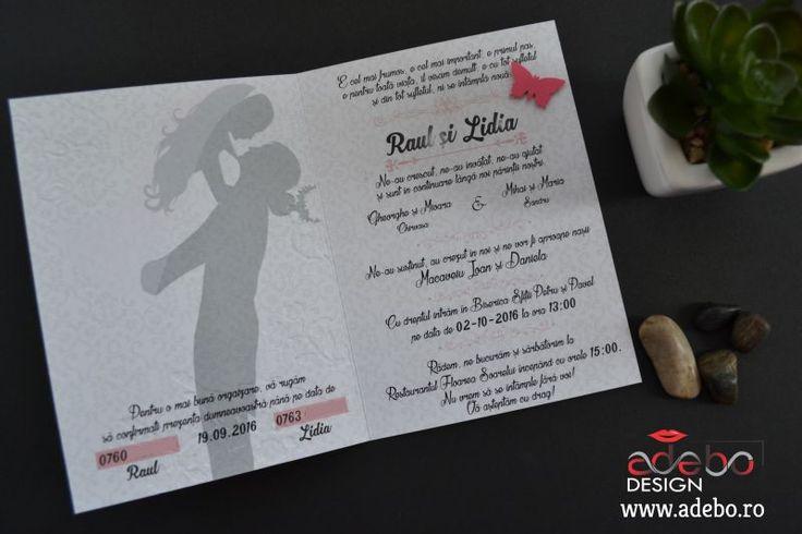 Invitatie de nunta cu fluturasi si imprimeu floral direct in carton. Textul si culorile pot fi schimbate, la cererea clientului, de asemenea putem adapta si alte idei acestei invitatii. Plicul de bani pentru nunta a fost personalizat si acesta, deoarece stim cu totii, chiar si cele mai mici detalii conteaza.