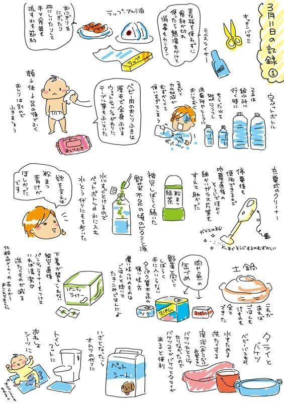 東日本大震災を経験したイラストレーターのアベナオミ(@abe_naomi_)さんが投稿した「震災時に役に立ったもの」というイラストが話題を呼んでいます。