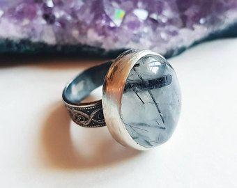 Doctor Dee ring - tourmaline quartz ring, tourmalined quartz silver ring, tudor inspired talisman witch ring, weird ring | custom size