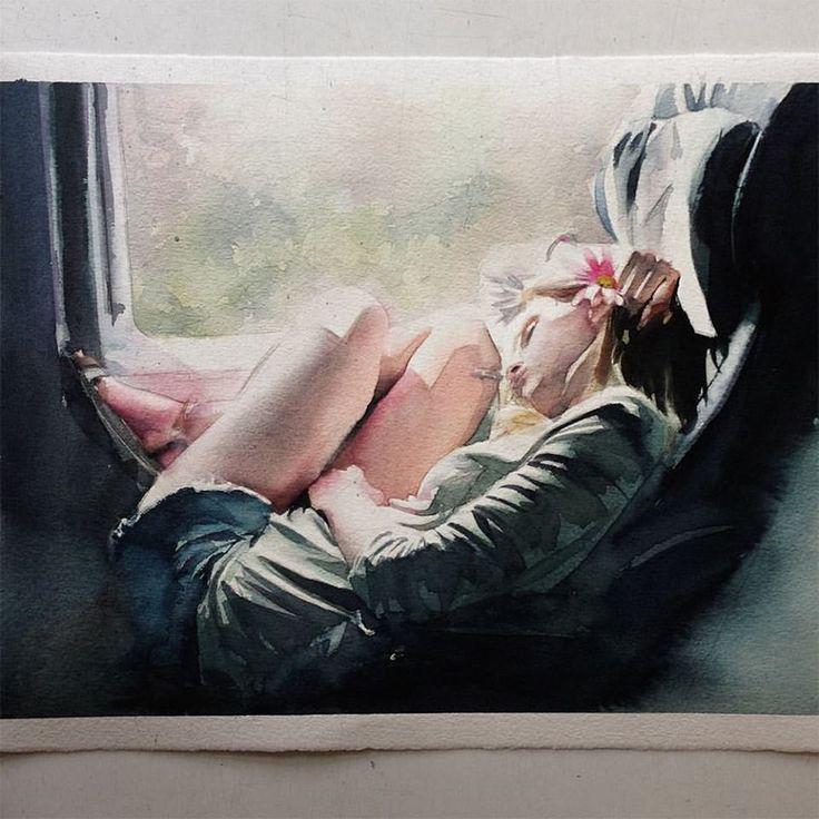 Marcos Beccari , 여자, 앉아있는, 수채화, 빛표현