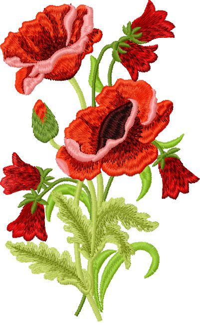 Poppies free embroidery design
