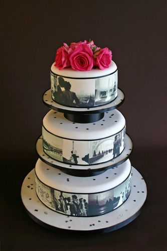 photo cake..... Put photos of the couple from when they first met until the engagement