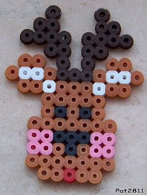 Simple Hama bead reindeer for Christmas crafting