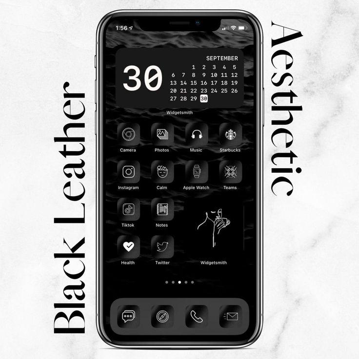 Black iphone ios 14 app icons pack ios14 homescreen icon