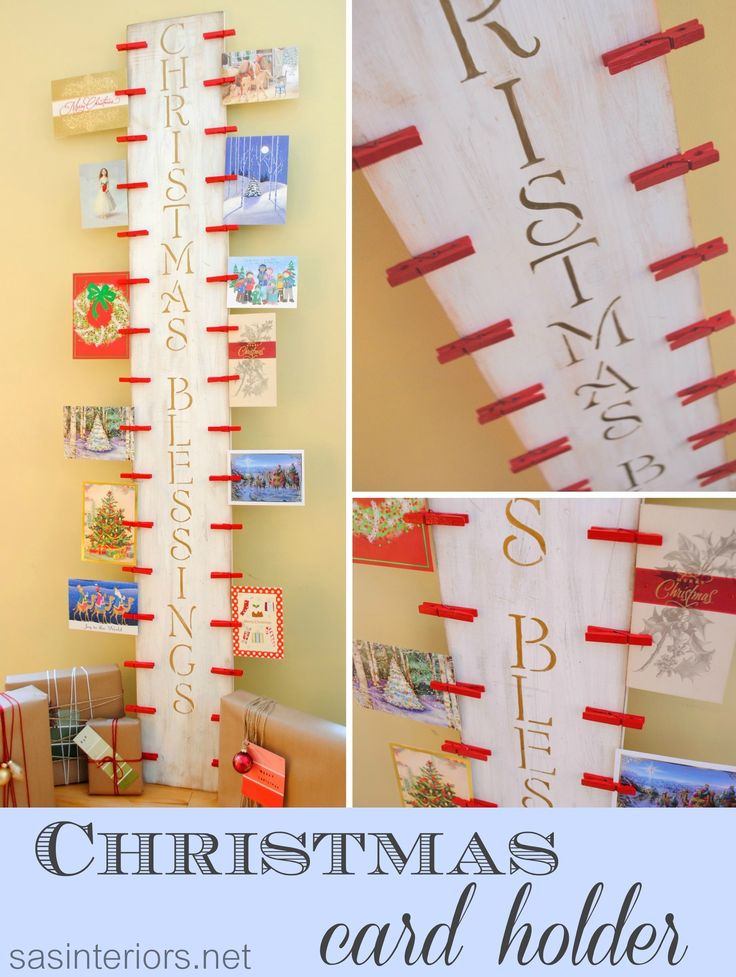 DIY: Easy-to-create Christmas Card Holder with 6' piece of wood and clothes pinsby @Jenna_Burger via sasinteriors.net #LowesCreator #LowesCreativeIdea