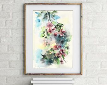 Original Watercolor Painting Blossoms Painting Spring