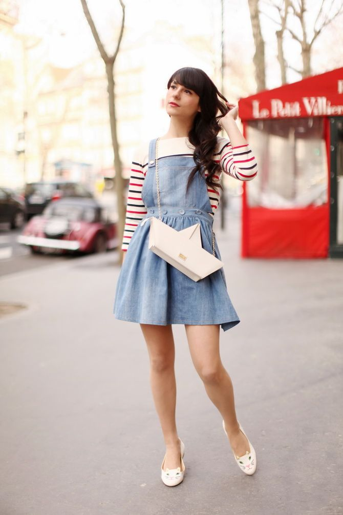 Alix Bancourt (Cherry Blossom Girl) - Hilfiger Denim striped top, Dahlia dress, Moschino Cheap & Chic Sailboat Bag, and Charlotte Olympia kitty flats.
