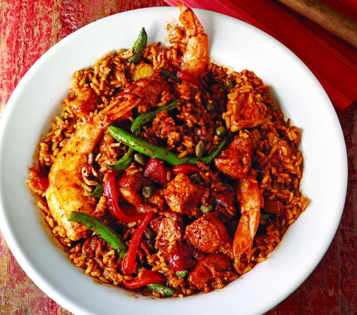 This spicy take on the Spanish paella uses the lean meat from the loin and can be rewarmed easily.