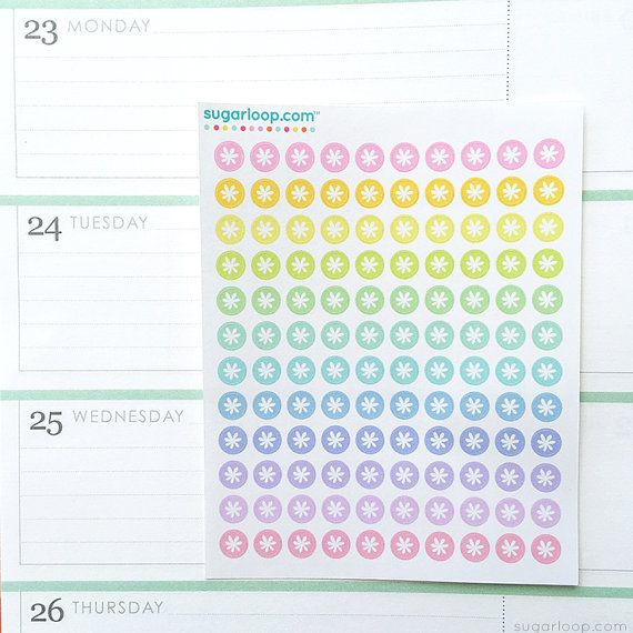 120 x 0.25 inch color code, planner stickers, hand drawn, rainbow, floral motif, mini, dots, bullet points, daily dots, to do, work, DOT3