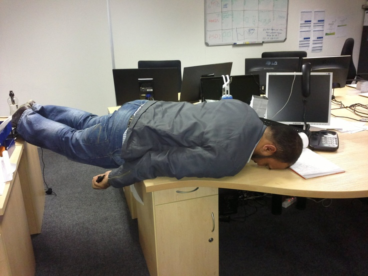 Our senior web dev taking planking to a new level in the office