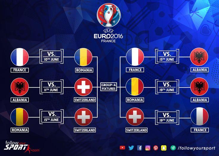 Euro 2016 GroupA #Fixtures #Euro2016 #Football #Soccer #France #Switzerland #Romania  #Albania