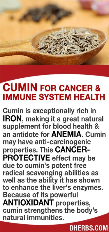 Cumin is exceptionally rich in iron, making it a great natural supplement for blood health & an antidote for anemia. Cumin may have anti-carcinogenic properties. This cancer- protective effect may be due to cumin's potent free radical scavenging abilities as well as the ability it has shown to enhance the liver's enzymes. Because of its powerful antioxidant properties, cumin strengthens the body's natural immunities. #dherbs #healthtips by stella